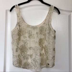 Abercrombie & Fitch Gold Sequined Sheer Tank